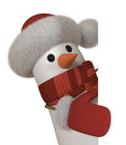 3d snowman with a sign. The New Year's snow character congratulates all on a holiday Stock Photography