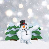 3D snowman on silver Christmas background with mounds of snow Royalty Free Stock Photos