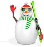 3d snowman with skis Royalty Free Stock Photos