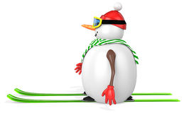 3d snowman with skis. On white background Stock Image