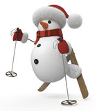 3d snowman on skis Royalty Free Stock Photography