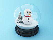 3d Snowman in a snow dome. Stock Images