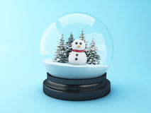 3d Snowman in a snow dome. Royalty Free Stock Photos