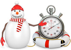 3d snowman with a stopwatch Royalty Free Stock Image