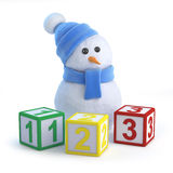 3d Snowman teaches math Royalty Free Stock Photography