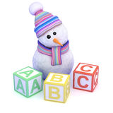 3d Snowman teaches you how to read Stock Photography