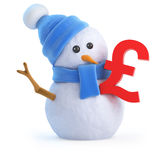 3d Snowman with UK Pounds Sterling symbol Royalty Free Stock Images