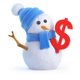 3d Snowman with a US Dollar symbol. 3d render of a snowman with a US Dollar currency symbol Stock Images