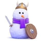 3d Snowman viking warrior Stock Photo