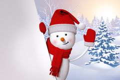 3d snowman waving hand, Christmas background, winter landscape, Royalty Free Stock Image