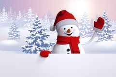 3d snowman waving hand, Christmas card, winter forest background. Landscape, blank banner, white page, copy space Stock Photography