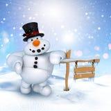 3D snowman in a winter landscape Stock Photos