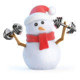 3d Snowman works out with weights stock illustration