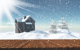 3D snowy fir tree landscape Royalty Free Stock Photography