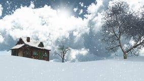 3D snowy fir tree landscape Stock Images