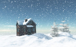 3D snowy house with trees and house Royalty Free Stock Images