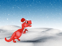 3D snowy landscape with cute dinosaur carrying a gift Royalty Free Stock Photo