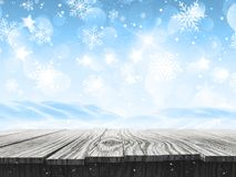 3D snowy landscape with falling snowflakes and wooden table. 3D render of a snowy landscape with falling snowflakes and wooden table stock illustration