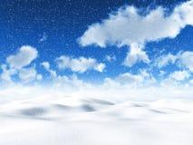 3D snowy landscape Royalty Free Stock Photo