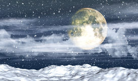 3D snowy landscape with moon Stock Photography