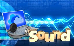 3d 'soam' o portátil e os fones de ouvido do sinal Fotos de Stock