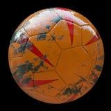 3d soccer ball on black background. 3d made dirty muddy soccer ball Stock Photos