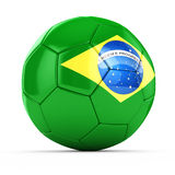 3d soccer ball with Brazil flag Royalty Free Stock Photo