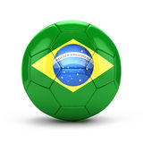 3d soccer ball with Brazil flag Royalty Free Stock Photos