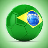 3d soccer ball with Brazil flag Royalty Free Stock Image