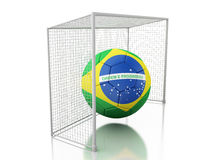 3d Soccer ball with Brazil flag. 3d renderer image. Soccer ball with Brazil flag. Isolated white background Royalty Free Stock Photography