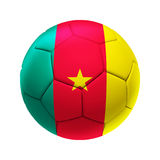 3D soccer ball with Cameroon team flag. Royalty Free Stock Image