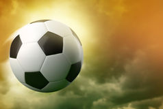 3d soccer ball on dramatic sky background Royalty Free Stock Image