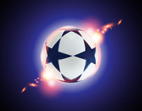3D Soccer ball. Football ball with blue stars on blue background. Stock Images