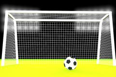 3d soccer ball and goal Royalty Free Stock Photography