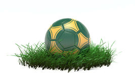 3D Soccer ball on grass Royalty Free Stock Photos
