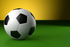 3d soccer ball on green background Stock Photos