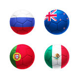 3D soccer ball Group A with Russia, Portugal, New Zealand, Mexic Stock Images