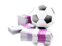 3d Soccer ball with money. Betting concept. 3d renderer image. Soccer ball with money. Betting concept. Isolated white background Royalty Free Stock Photography
