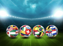 3d soccer ball with nations team's flags Royalty Free Stock Images