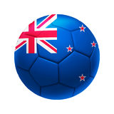 3D soccer ball with New Zealand team flag. Royalty Free Stock Photo