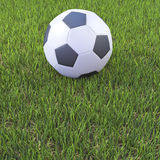 3d Soccer ball on pitch Stock Image