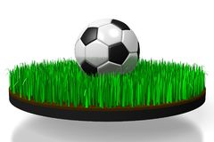 3D soccer/ football concept. 3D soccer ball and soccer field - great for topics like match etc Royalty Free Stock Image