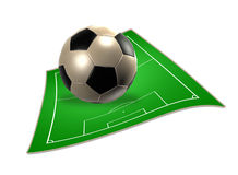 3d soccer ball with soccer field Royalty Free Stock Images