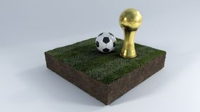 3D Soccer ball and trophy on grass patch. 3D Render of Soccer Bal and trophyl on Grass Patch Stock Photography