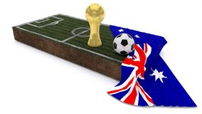 3D Soccer ball and trophy on grass patch with flag. 3D Render of Soccer Bal and trophyl on Grass Patch with flag Stock Photo