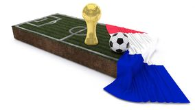 3D Soccer ball and trophy on grass patch with flag. 3D Render of Soccer Bal and trophyl on Grass Patch with flag Stock Images