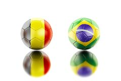 3d Soccer balls with Belgium and Brazil flags. 3d illustration. Soccer balls with Belgium and Brazil flags. Sports concept. Isolated white background Stock Photos
