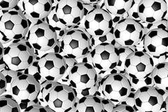 3D soccer balls/ footballs - background Stock Photo
