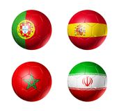 Russia football 2018 group B flags on soccer balls. 3D soccer balls with group B teams flags, Football competition Russia 2018. isolated on white Royalty Free Stock Photo