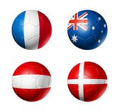 Russia football 2018 group C flags on soccer balls vector illustration